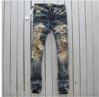 2014 Rushed Direct Selling Freeshipping Mid Fashion Men Skinny Silm Straight Jeans Poker Water Wash Patch Material Hole Beggar