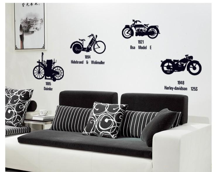classic motobike black personalized wall sticker