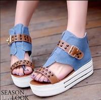 Free Shipping Summer platform canvas flip-flop rivet flat buckle denim sandals shoes