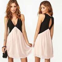2014 Spring New Dress Summer Trendy Girl Sexy Deep V-neck Stitching Back Hollow Chiffon Vest Dress Sleeveless S~XL 80406