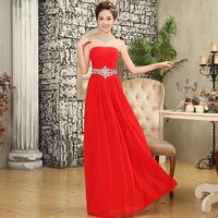 New 2014 Shinning Rhinestone Belt Strapless Long Bridal Evening Dresss Wedding Long Dress Party Formal Dresses