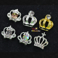 New 2014  High Quality Crown Design 60PCS Mix Crystal Rhinestones Strass Metal 3D Nail Art Salon Decorations DIY Tools