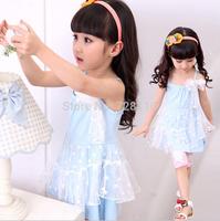 (5 pieces/lot) Children's girls vest condole belt dress lace wave point girls Double lace wave point dresses