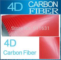 """30x152CM 12""""x60"""" Red 4D Carbon Fiber 100% air free bubble Car Carbon Fiber Cover Sticker Car Carbon Fiber Vinyl Wrap Foil"""