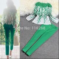 Spring 2014 green print chiffon women sheer lace blouses shirt blusas femininas ladies tops pants trousers clothing set .7
