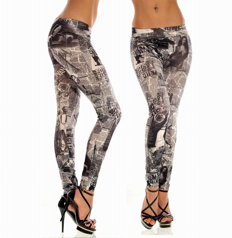 Fashion Leggings new work paper printed leggings For Women Free shipping Fashion Girl Legging 4F8337(China (Mainland))