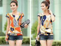 New Women Retro Printing Chiffon Tops T-shirt 2Color 4Size