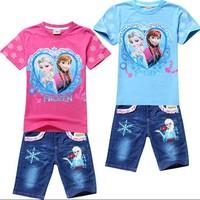New 2014 frozen clothing set for girls children frozen clothes  girls clothing sets Elsa&ann