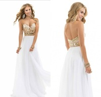 Best Sale 2014 Free Shipping Charming Style Noble Beaded Sweetheart Chiffon White Rose Gold Sparkle Evening Dress Prom Gowns