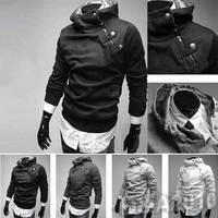 FREE SHIPPING Men Casual Slim Fit Zip Up Designed Coat Jacket Sweater Cardigan Hoodie