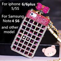 Luxury DIY Diamond bowknot Diamante Perfume Bottle Leather Lanyard Chain TPU Case Handbag For iPhone 5 5S 4S Samsung S4 Note 3