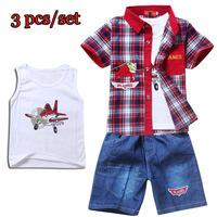 Retail Children Clothing Sets,Cartoon DUSTY PLANE &Spiderman fashion suit 3pcs shirt+vest+pant Kids Clothing free shipping