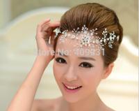 2014 Free Shipping Fashion Handmade Lace Hairwear Wedding Bride Head Chain Luxury Rhinestone Wedding Accessories Hair Wholesale