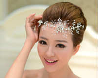 2014 Free Shipping Fashion Handmade Lace Hairwear Wedding Bride Head Chain Luxury Rhinestone Wedding Accessories Hair Wholesale