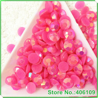 3mm,4mm,5mm,6mm Resin Rhinestone Beads 14 Faceted Cut FlatBack Round Stone J18 Jelly rose AB Color