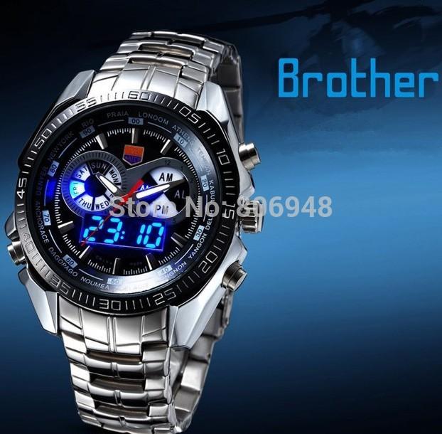 2014 Sports men full steel Quartz military TVG Watch city Hunter LED Pointer 30AM Waterproof men wristwatch+Original Box(China (Mainland))