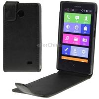 Vertical Flip Leather Case for Nokia X (Black)
