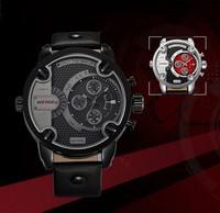 WEIDE WH3301 Men Sports Watches Military Quartz Luxury Fashion Brand Leather Strap Watch Waterproofed Oversize Wristwatch