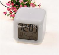 7 Color Change Mini Desktop Digital LCD Thermometer Calendar LED Alarm Clock NEW
