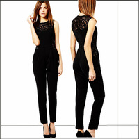 2014 Summer New Arrival Europe Hot Selling Perspective Lace Sleeveless Lone Jumpsuits Sexy Jumpsuits   TSP1420