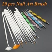 free shipping 20pcs Nail Art Design Set Dotting Painting Drawing Polish Brush Pen Tools