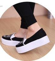 2014 New fashion casual sneaker high platform Animal prints Height Increasing rhinestone women and lady shoes free shipping#3286