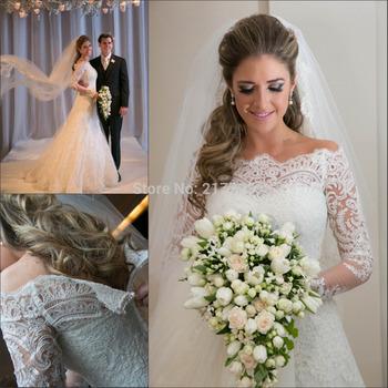 Свадебные платья Noiva 2014 новый сексуальное линии аппликации кружево свадебные платья с длинными рукавами свадебное платье для свадьбы и события BO5656