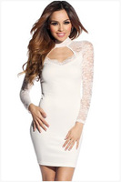 New 2014 EuropeStyle fashion sexy lace hollow out women dress temperamental high street party wear bodycon dress