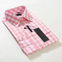2014 spring New style Mens shirt Long sleeve fine plaid brand dress shirt men Business casual shirts Big size pink shirt men