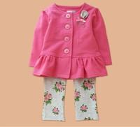 New baby girl's long sleeve suit 100% cotton 2014 autumn fashion fuschia princess coat+flower pants 2 piece set baby clothing