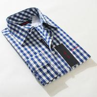 Free shipping 2014 new Brand shirt men casual suit men's cotton long sleeve shirt men's fashion youth plaid color shirt