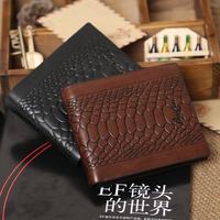 Wallet 2014 casual men's fashion trends two fold wallets snake skin wallet crocodile pattern purse free shipping 2 COLORS M03