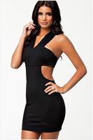 New 2014 EuropeStyle fashion sexy splice hollow out women black dress high street party wear bodycon dress