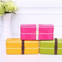 BF010 Candy color double portable sushi box microwave lunch box 540 ml bento 20*6*8.5cm free shipping