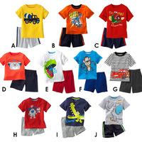 2014 new children new summer suits.Cartoon suits (T-shirt+shorts).Children's suit.Children's outfit. 100% cotton boy sport suit.