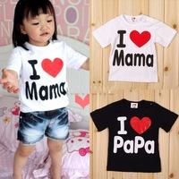 Drop SHIPPING!!!Retail I Love Papa Mama Baby T-shirt girls boys children Clothes for summer children T shirt SHORT SLEEVE