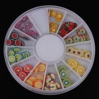 12 Mixed Designs Fruit  DIY 3D Nail Art Tip Decoration Nail Stud Round Wheel Free Shipping