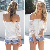 2014 New sexy Style Women Loose Off Shoulder Lace Floral Crochet Blouse Tops T-shirts slash neck plus size t shirt 8309