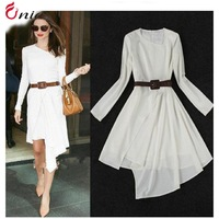 New 2014 summer women temperament Slim waist plus size chiffon long sleeve  irregular casual dress party dress # 6582 with belt