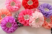 Ruffled chiffon Flower Pearl Rhinestone hair Flower Flat Back for baby girl 500pcs