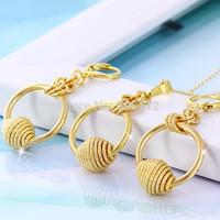 Magic Beads Balls 18k Yellow Gold Filled GF Women's Circle Necklace Earrings Set