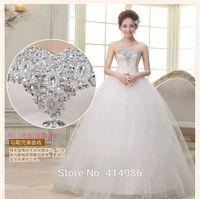 HOT Free shipping new 2014 white princess fashionable wedding dress romantic tulle wedding dresses HS081