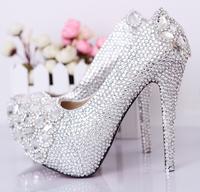 Eternal crystal wedding shoes fashion ultra high heels platform shoes women's performance shoes bride wedding shoes