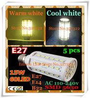 Free shipping 5 pcs 15W SMD 5630 5730 60 LED E27 E14 B22 AC110V / 220V LED Corn Bulb Light Maize Lamp LED spotlight Lighting