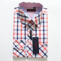 Free shipping 2014 wholesale retail price hot sale mens plaid shirt full sleeve slim fit  turn down collar wintage men shirt