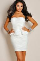 Sexy Strapless Ivory White Textured Peplum Dress  Sizzling Sequin Party Dress