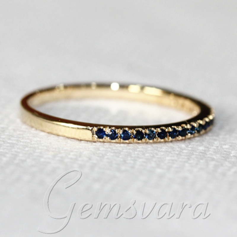 Pave VS Brilliant Blue Sapphire 14K Yellow Gold Half Eternity Wedding Bands E