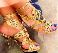 free shipping 2014 new cheap designer high heels lacing gladiator sandal gold silver women sandals