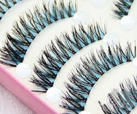 New 10 Pair Handmade Blue and Black False Eyelashes Fashion Crisscross Lashes Transparent  Eyelashes makeup for eyes HS-40#