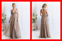 Fashion New Hot A-Line Maid Of Honor Dress 2015 Straps Bandage Dress A-Line Sweetheart Long Prom Dress Backless Bridesmaid Gowns